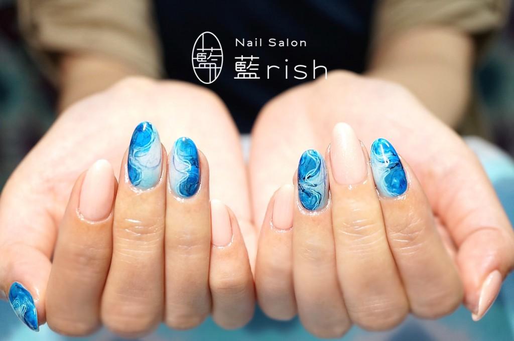 -伝統工芸ネイル-青の糸