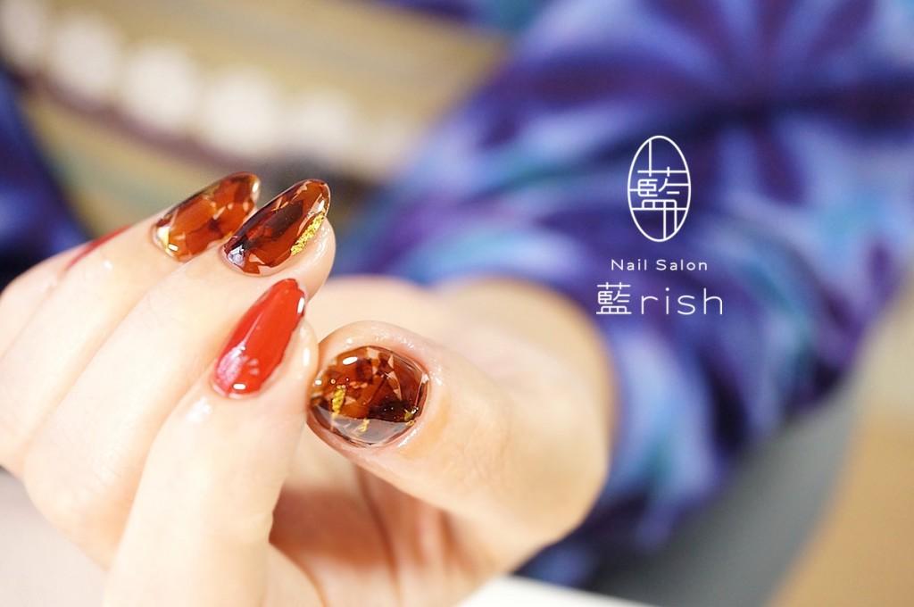 -伝統工芸- 漆ネイル 琥珀